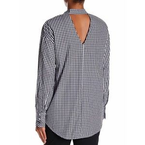 Melló Day Gingham Long Sleeve Cut Out Back Top